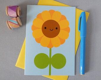Happy Sunflower Card - Kawaii Greetings Card