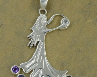 Sterling Silver 8 Chakra Stone Fairy Pendant with Chain