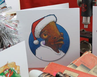 A Star Wars Christmas!  It's a TRAP or is it a Christmas card featuring Admiral Ackbar!   Based on an original acrylic painting
