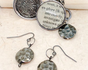 Explore, explore jewelry, travel, travel jewelry, travel pendant, dictionary jewelry, dictionary pendants, compass, travel gifts