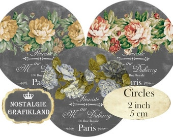 Circles 2 inch Vintage Grey Flowers Instant Download digital collage sheet C215 Chalkboard Rosen