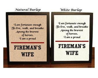 Thin Red line Burlap Print, Fireman's Wife Decor, Firefighter Print, Proud Fireman's Wife, Live Walk Breathe Bravest of Heros