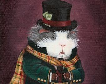 Ebenezer Scrooge Guinea Pig Christmas Art Print