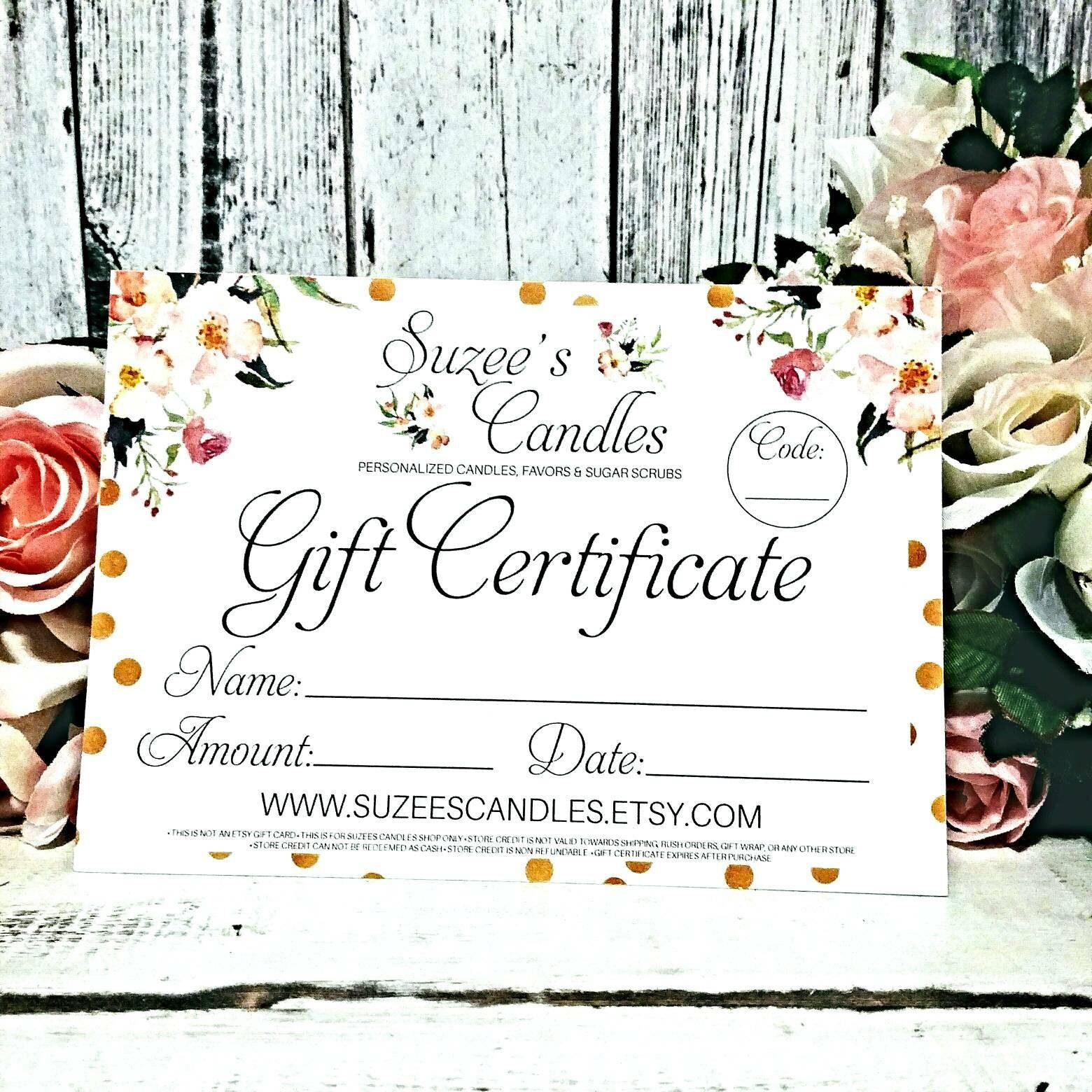 wedding gift certificate ideas
