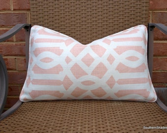 Both or One Side - ONE Schumacher Imperial Trellis II Blush Pillow Cover with Self Cording