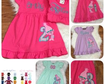 Troll Birthday Dress, Poppy Troll Birthday Dress, Troll Birthday Outfit,