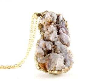 OOAK Raw Druzy Necklace - Natural Agate Druzy Pendant Necklace - Sparkle Galaxy Druzy - DGN27
