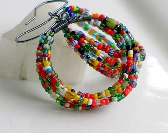 Trade Bead Hoop Earrings, Big Hoop Dangles with Bright Mixed Antique Trade Beads, Handmade Original Gift for Her, Made to Order
