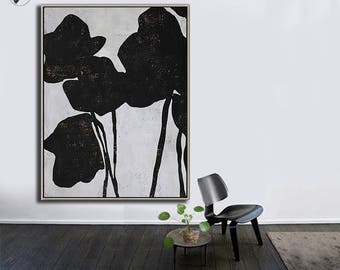 Large Wall Art Canvas Art Abstract Flowers, Modern Art Canvas Painting Minimalist Black and White  - Ethan Hill Art No.H132V