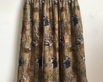Vintage French Safari Pleated Skirt