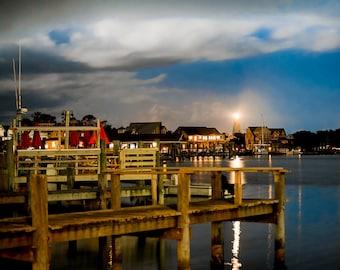 """Ocracoke Art, Lighthouse Art, Outer Banks Photography, Ocracoke Print, Silver Lake Harbor, Coastal Decor, Ocracoke - """"Silver Lake Harbor"""""""
