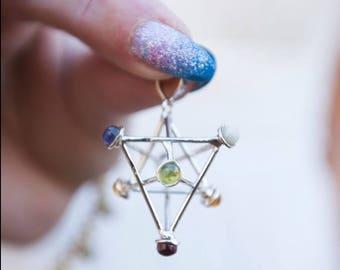 Merkaba Gemstone Pendant/ Merkaba Chakra Pendant/ 7 Chakra Merkaba Pendant/ Chakra Gemstone Pendant/ Chakra Jewelry
