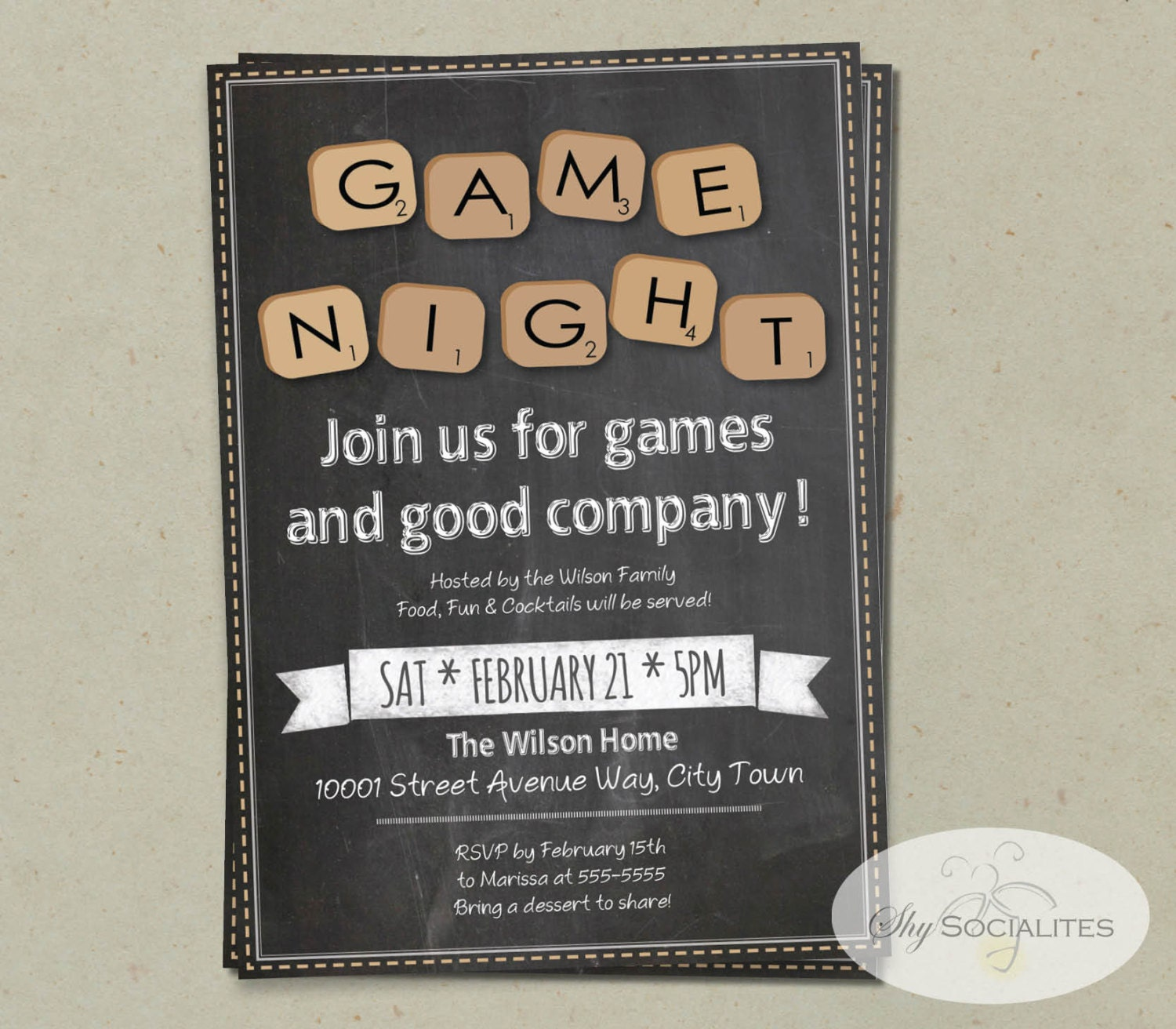 Chalkboard game night invitation instant download word zoom stopboris Images