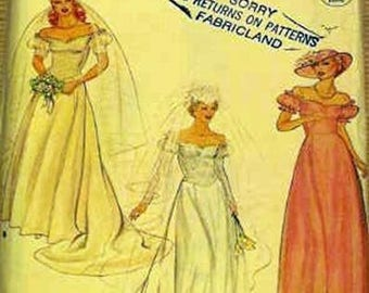 1980s vintage pattern: misses off-shoulder WEDDING DRESS wit train sz8