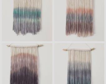 Dip Dyed Yarn Wall Hanging - Tapestry - Boho Decor - Dyed Yarn Wall Hanging - Wall Decor - Fiber Art - Size: Small -CUSTOM