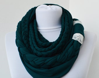Teal Loop Scarf - Infinity Jersey Scarf - Partially braided Circle Scarf - Scarf Nekclace