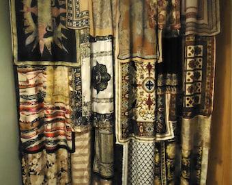 "Shades of Black & Gold Gypsy Boho Curtains - 80"" long"