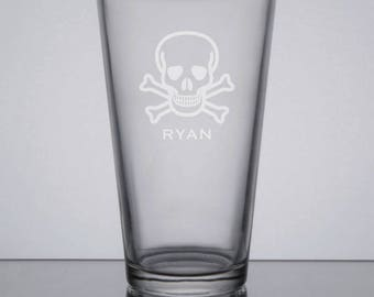 Etched Pint Glass, Skull & Crossbones Glass, Groomsmen Gift, Beer Glass, Custom Groomsman Gift, Engraved Pint, Sandblasted Beer Glass