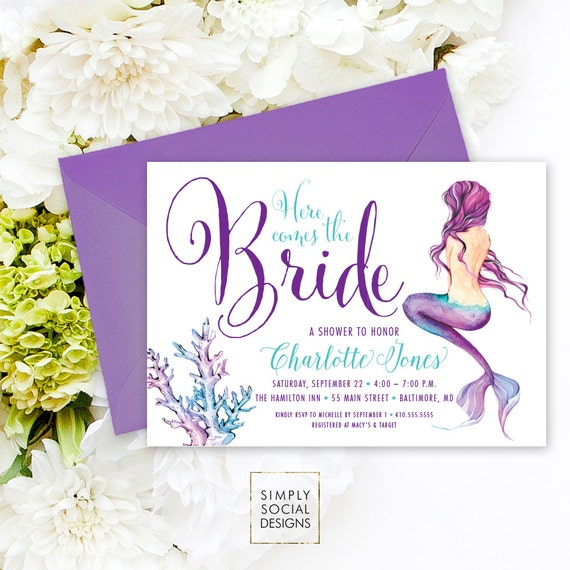 Under the sea mermaid bridal shower invitation here comes like this item filmwisefo Images