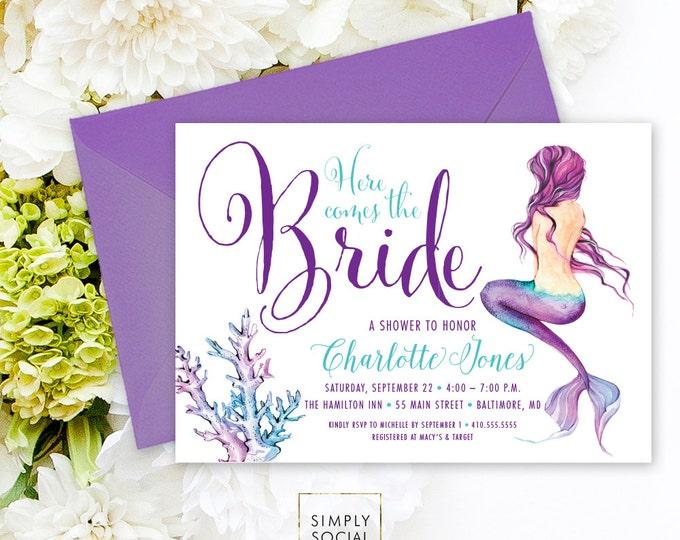 Under the Sea Mermaid Bridal Shower Invitation - Here Comes the Bride Boho Watercolor Beach Invitation Purple and Aqua Watercolor