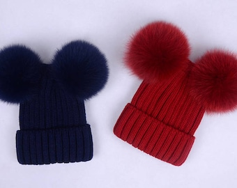 double pom pom hats Custom Children/Adult Hats Knit Hat with Fox Puffs Ball Double Pom Pom Beanies Baby Hats
