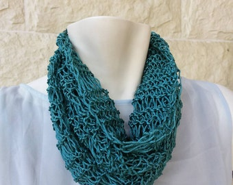 Knitted-ring knitted-scarf-silk cotton scarf-handmade scarves-women's scarves-green scarf-gift for her