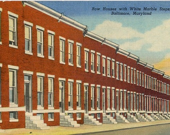Baltimore Maryland Row Houses with White Marble Steps Vintage Postcard (unused)