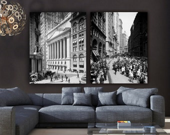 Vintage New York Photos, NY Stock Exchange & Broad Street known as the Financial District, Large Wall art, New York Photos, art on canvas