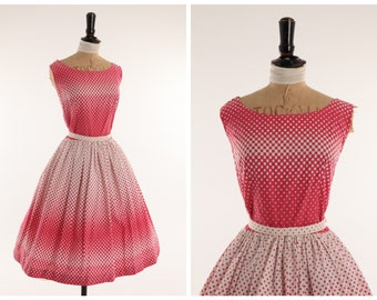 Vintage original 1950s 50s pink and white novelty square print cotton dress w full skirt UK 8 US 4 XS S