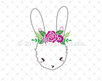 Easter Bunny Svg Cut Files, Easter Svg, Bunny Svg, Spring Flowers SVG, Spring svg for Cricut and Silhouette, svg files