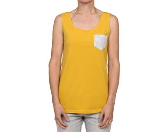 Tank top // Woman // Yellow // Organic cotton // Peas pocket