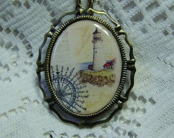 Lighthouse Illustration Necklace Pin combination - Nautical Art - Atlantic Ocean Map - Canada Lighthouse - Guiding Light - Maritime Jewelry