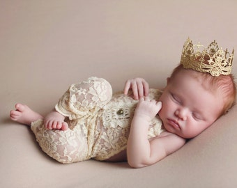 Ready to Ship    Chantilly    mini vintage lace crown headband   gold, silver, rose gold     newborn - toddler   cake topper    WASHABLE