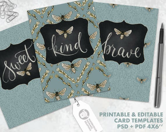 Hand lettered printable card templates bee kind bee brave bee hand lettered printable card templates bee kind bee brave bee sweet 4x6 greeting card instant download diy card inspirational art from m4hsunfo