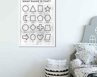 What shape is that? print kids poster | white & black |  printable | nursery decor | shapes poster | Learn shapes
