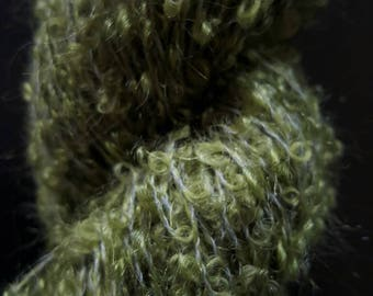 Olive Green Boucle Mohair Skein (3oz, 220 yards)