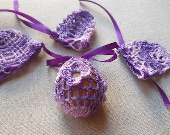 Crochet Easter Egg Cover Cozy, Set of 4 Hand Crocheted Easter Eggs Easter Decoration Purple