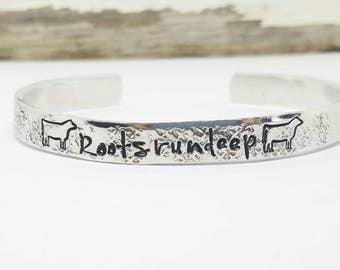 Roots run deep, cattle bracelet, cuff, farming bracelet, farmers daughter, farm life, 4h, steer, show, personalized, calf, cow bracelet