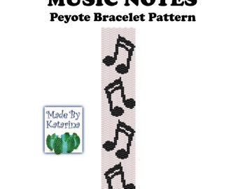 Peyote Pattern - Music Notes - INSTANT DOWNLOAD PDF - Peyote Stitch Bracelet Pattern - Peyote Music Notes - Two Drop Even Peyote