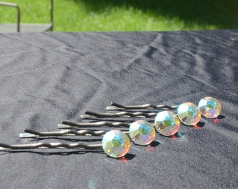 Dance HAIR ORNAMENTS - Made with SWAROVSKI - Ballroom Dance Competition - Dance Recital - Wedding Jewelry - Set of 5 Hair Pins