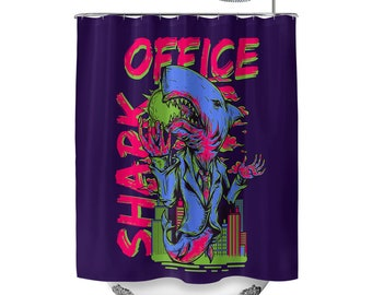 Office Shark Aubergine Purple Shower Curtain