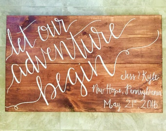 Let our adventure begin   Wedding personalized   Nursery peraonalized   Wooden Sign