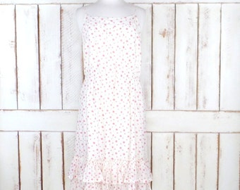 Vintage white/pink polka dot ruffle maxi dress/Gap sleeveless summer dress/cotton sundress