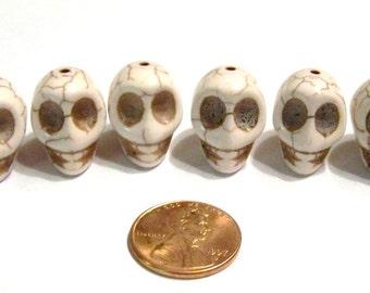 Cream Colored Howlite Stone Skull Beads Craft, Jewelry Supply
