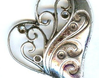 Floating Heart Antique Silver Pendant 42mm 2 pcs