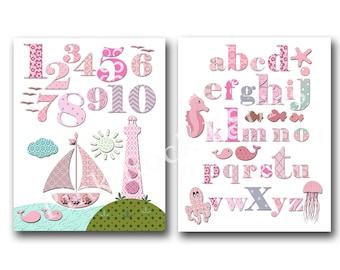 Pink nautical nursery artwork pink ocean nursery decoration alphabet poster nursery wall decor abc print numbers poster kids room wall art