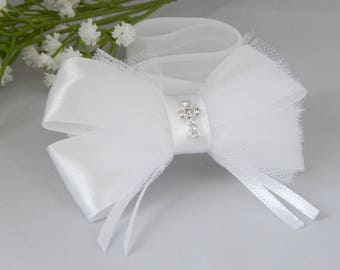 White baby bow for christening, baptism satin and tulle bow with rhinestone cross, baptismal bow, white tulle hair band, fairy dust handmade