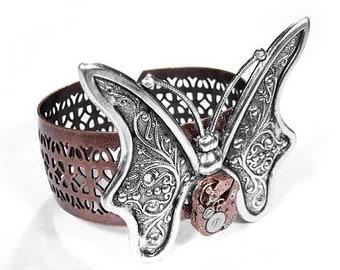 Steampunk Jewelry Cuff Rose Gold Watch Butterfly Cuff Bracelet in VIVA La MODA Magazine Mothers Girlfriend Fiancee - Jewelry by edmdesigns