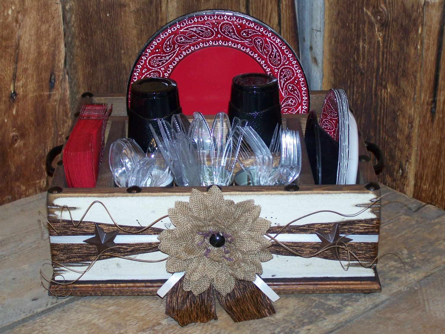 🔎zoom & Rustic western decor themed party tableware utensil holder