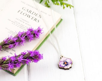 Illustrated Pansy Pendant Necklace | Purple Flower Jewellery